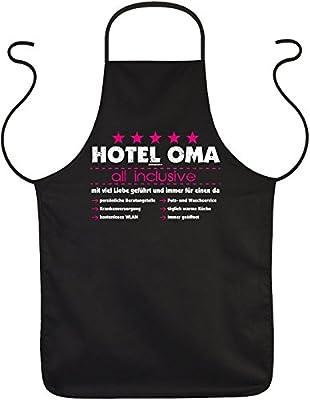 Kochschürze Grillschürze Gartenschürze Schürze als Geschenk für Oma - Hotel Oma all inclusive! Mit viel Liebe geführt...