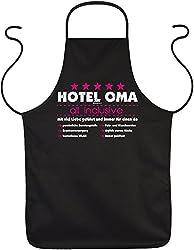 OMA Motiv Schürze DANKESCHÖN mit Herz Hotel Oma - all inclusive - mit viel Liebe ... OMA VERSTEHER - bedanken Geschenke zum Geburtstag Weihnachten - Print Kochschürze Latzschürze in schwarz : )