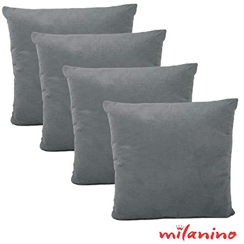 milanino 4er Set Dekokissen mit Füllung und Bezug   40x40 cm   Premium Füllkissen samtweich Sofakissen Couchkissen Zierkissen mit Kissenhülle   pflegeleicht   mit Reißverschluss   Design (Grau)