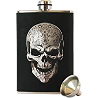 8oz Stainless Steel Primo 18/8 #304 Skull Wrap Premium High Quality/Heavy Duty Hip Flask Gift Set - Includes Funnel and Gift Box by Primo Liquor Flasks - Liquor Flask Gift Set