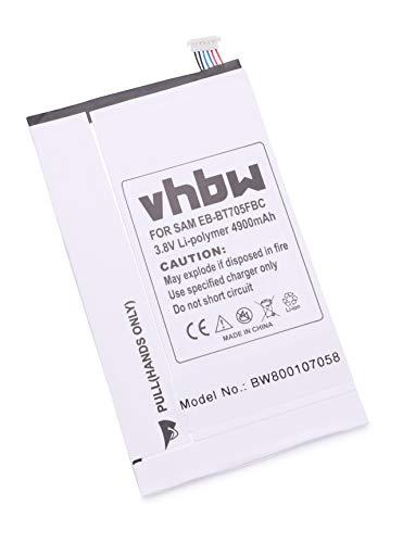 vhbw Li-Polymer Akku 4900mAh (3.8V) für Tablet Netbook Pad Samsung Galaxy Tab Klimt, S 8.4, S 8.4 WiFi, SC-03G, SM-T700, SM-T705 wie EB-BT705FBC.