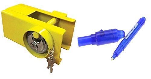 MSA Schwerlastschloss für Anhängerkupplung, mit Schlüsseln für Anhänger/Wohnmobil/Anhänger + Sicherheits-UV-Stift - Für Anhänger Schloss