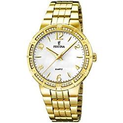 University Sports Press F16704/1 - Reloj de cuarzo para mujer, con correa de acero inoxidable chapado, color dorado