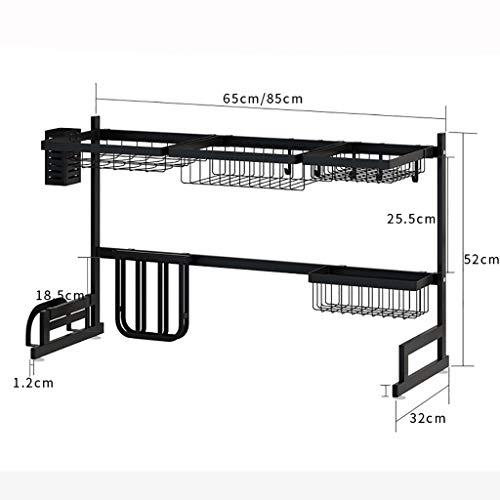 Kleine Schüssel-licht-anhänger (HYHZWj Geschirrtrockner Schwarz Länge 60 cm / 85 cm Zwei 201 Edelstahl Küchengestelle Abtropfbrett Abtropfschale Rack Abtropfbrett Küche liefert Lagerregal Spülmaschinen für Spülbecken (größe : 85cm))