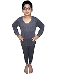 HAP Kings Round Neck Grey Melange Winter Thermal Set of Top Trouser & matching Cap /Thermal for Boys and Girls/kids thermal