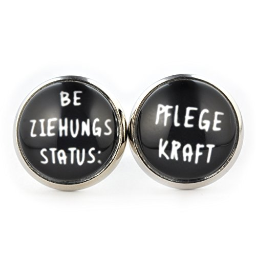 SCHMUCKZUCKER Damen Ohrstecker Beziehungsstatus Pflegekraft Modeschmuck Ohrringe silber-farben schwarz ()