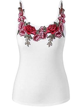 SHOBDW Mujeres de la Manera Más el Tamaño Sexy Rose Bordado Floral Casual Tank Tops Camisa Blusa Camisola