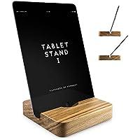 iPad Ständer Holz, Tablet-halter für iPad Pro, Mini 2, 2 Winkel Neigungen, Schreibtisch, Bett oder Boden Halterung | Handmade in Germany von FORMGUT® | Eiche Massiv
