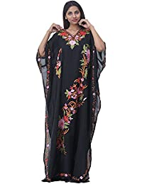 Odishabazaar Crushed Cotton Kashmiri Kaftan With Aari Embroidered By Hand