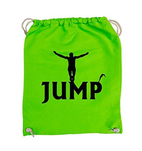 Comedy Bags - JUMP - FIGUR - Turnbeutel - 37x46cm - Farbe: Schwarz / Silber Hellgrün / Schwarz