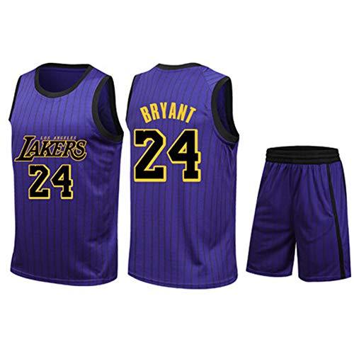 Herren Basketball-Trikot #23 James #24 Kobe Lakers T-Shirts Sportbekleidung ärmellos Style Set Weste Meshkragen Bestickt Stoff 2XS-5XL Familie XXL Violett 2