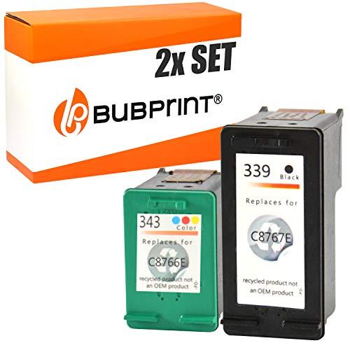 Bubprint 2 Druckerpatronen kompatibel für HP 339 343 für Deskjet 5940 6500 6840 6980 Officejet 7210 7310 K7100 Photosmart 2575 2610 8050 8150 8450 -
