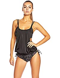 Figure Amical Cut Out Tankini / abdominale effet moyen / softcups / Cellulite route / slip / Octopus IS-1074-f5328