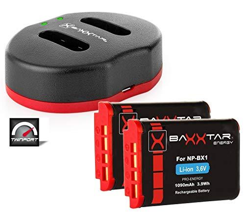 Baxxtar Pro - (2X) Ersatz für Akku Sony NP-BX1 (echte 1090mAh) - USB Ladegerät Twin Port 1829 - zu Sony DSC HX90 HX95 HX99 RX100 WX350 HX400V HDR AS100V FDR X1000 X3000 usw -