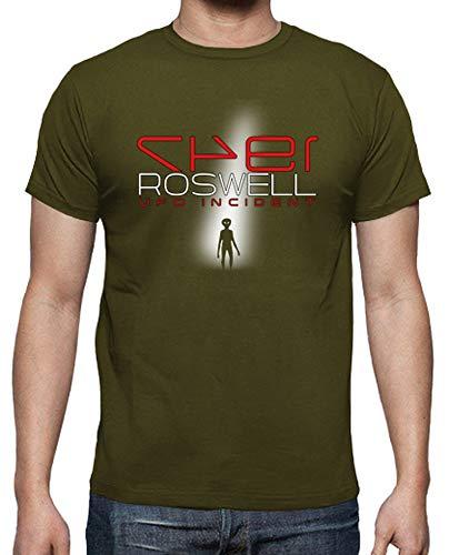 latostadora - Camiseta Roswell UFO Incident para Hombre Army XL