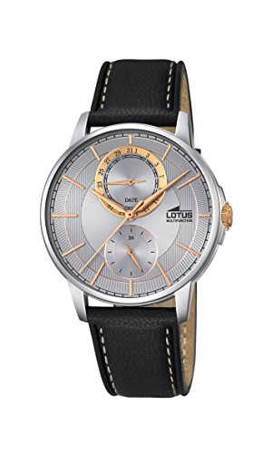 Lotus Men's Quartz Watch with Silver Dial Analogue Display and Black Leather Strap 18323/1