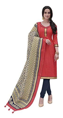 Vansika Sarees Women's Cotton Silk Unstitched Dress Material (Red)