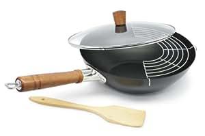 Aubecq A805002 Guo Wok 4 Pièces: Wok: 32 cm + Couvercle + Grille pour Égoutter + Spatule