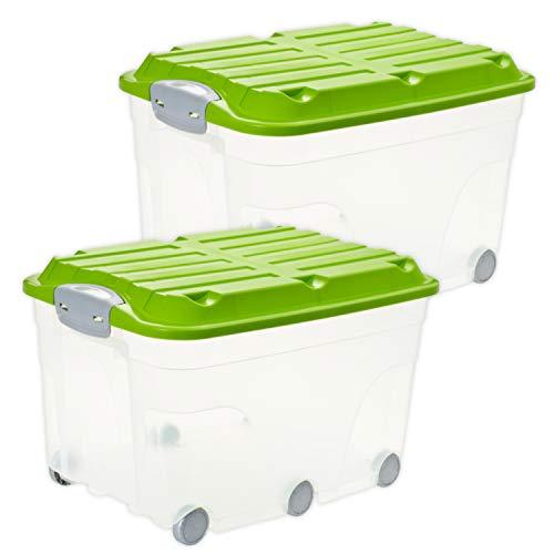 Rotho 6674705519ws - set di 2 contenitori con coperchio e ruote, in plastica