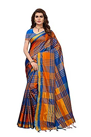 Art Décor Multicolor Cotton Silk Festive wear Saree with Blouse (Orange Dark Blue)