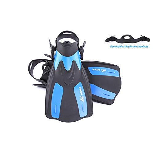 AYUE® Adulto Corto Snorkel Nado Aletas de Buceo Aletas Aletas con Tacón Ajustable Deportes Acuáticos,Blue,XS/M