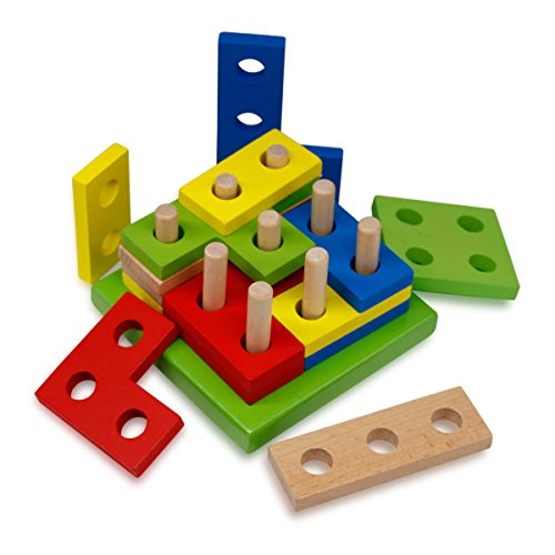 Block Stack Ordina Puzzle Giocattoli, Netspower Legno A Forma Geometrica E Il Riconoscimento Dei Colori Dei Giocattoli Del Blocchetto Per 3 Anni E Up Bambini Bambino