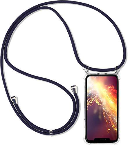 Uposao Kompatibel mit Samsung Galaxy A6 Plus 2018 Hülle Handykette Smartphone Necklace Hülle Silikon Hülle mit Kordel zum Umhängen Transparent Schutzhülle mit Band Handyhülle mit Kette,Blau