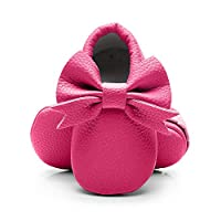Bebila Double Bow Fringe Baby Moccasins - Soft Sole Baby Shoes Girls Toddler Crib Flats Red Size: 12-18 Months Toddler