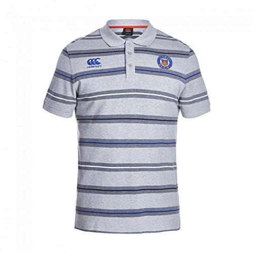 Canterbury Bath 2016/17 Players Media Striped Rugby Polo Shirt - Grey - Size S -