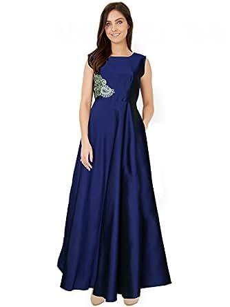 Royal Export Women's A-Line Long Party Wear Dress (G-3_Medium_Blue_Medium)