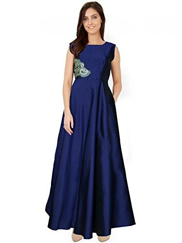 Royal Export Women's Multicolored Taffeta Silk Dress (Blue, XX-Large)