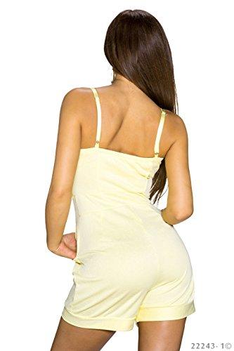 Damen Overall Jumpsuit einteiliger Hosenanzug mit Spaghettiträgern Gelb