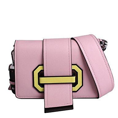 YJIUX Frauen Umhängetasche Rindsleder All Seasons Casual Rechteck ohne Reißverschluss blass rosa Schwarz Weiss Pale Pink