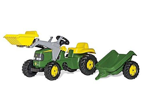 falk claas traktor Rolly Toys 023100 rollyKid John Deere | Trettraktor mit Lader und Anhänger | Traktor mit Motorhaube zum Öffnen | Schauffellader/Frontlader für Kinder ab 2,5 Jahren | Farbe grün