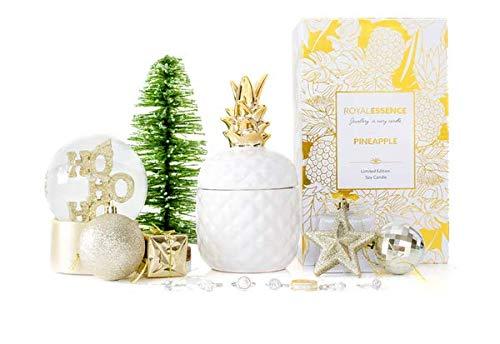 Royal essence ananas candela profumata gioielli sorpresa all' interno-anelli, collane, orecchini, earrings