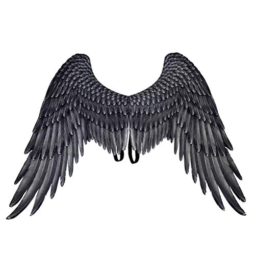 Wings Kostüm - Amosfun Black Angel Wings Engel Kostüm Party Cosplay Prop für Männer Frauen Erwachsene