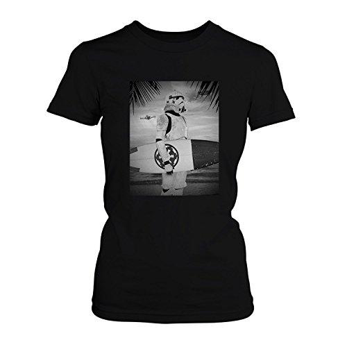 Fashionalarm Damen T-Shirt - Storm Trooper Surfer | Fun Shirt als Geschenk Idee für Wars Star Fans, Farbe:schwarz;Größe:XS