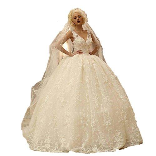 Aoturui Luxus Ballkleid Hochzeitskleider Tief V-Ausschnitt Sexy Rückenfrei Brautkleider Jahrgang...