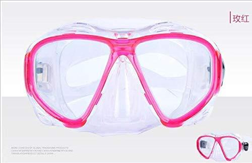 Tauchmasken Schnorchelsets Erwachsene Männer und Frauen, die die Schutzbrille taucht die Maske schnorchelt Glasausrüstung Schwimmen@Rose rot_Erwachsener mit 180° Sichtfeld und Kamerahaltung,
