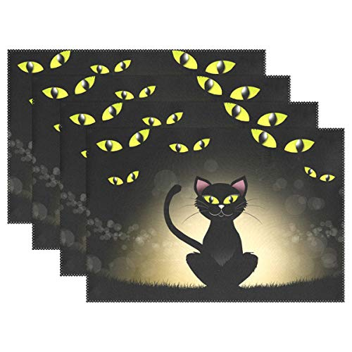 Ahomy Tischsets Halloween Black Cat Eye, Multi, 12x18inch