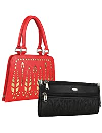Fillincart Pu Wallet/Clutch/ Purse Combo Of 2 For Women (Black And Red) - B07HHYRF8S