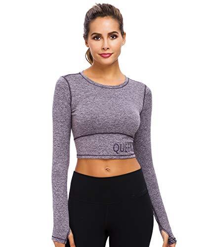 QUEENIEKE Damen Yoga Sweat Times Langarm T-Shirt Slim Fit Sport Tee Top Gr. Large, violett