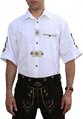 Trachtenhemd für Trachten Lederhosen Oktoberfest Trachtenmode wiesn weiß , Hemdgröße:XL