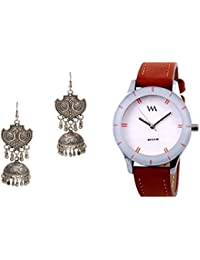 Watch Me Analogue White dial Set of Watches & Metal Jhumki Earrings for Women WMAL-WMAL-044-ZKRPGJ2