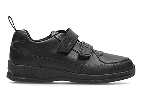 Clarks Jungen Maris Fire Jnr Sneaker, Schwarz (Black Leather), 34