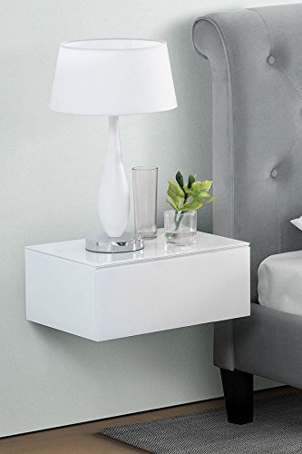 MY-Furniture - Inga Blanca Mesilla de noche flotante / Estanter?a / Sistema...