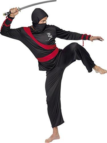 SMIFFYS Smiffy's - Costume da Ninja, Uomo, colore: Nero/Rosso, taglia: M