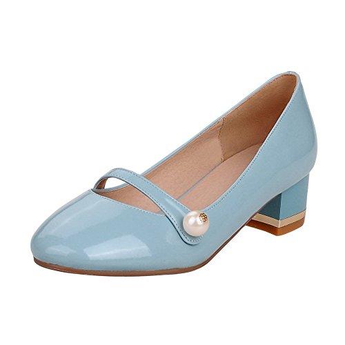 AllhqFashion Femme Verni Rond à Talon Bas Tire Couleur Unie Chaussures Légeres Bleu
