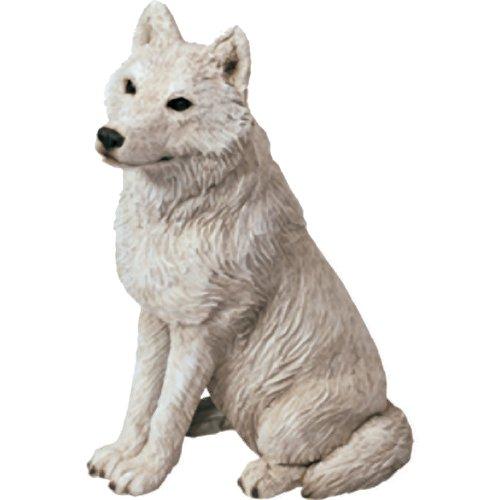 Sandicast Mid Größe Grau Arctic Wolf Skulptur, sitzend