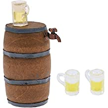 Baoblaze Kit de Cubo de Cerveza Mini Copa de Vino Miniatura Adornos de Muebles para Casa